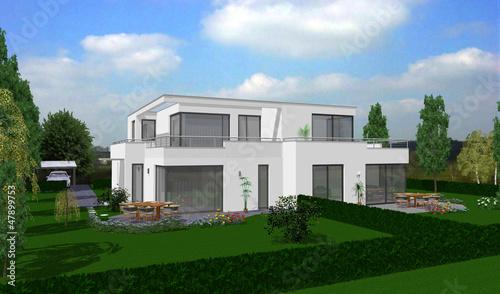 Doppelhaus flachdach exclusiv stockfotos und lizenzfreie for Doppelhaus flachdach beispiele