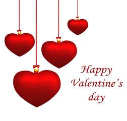 Valentine heart balls hanging isolated on white background. Illu