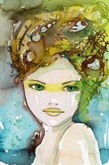 Garden Poster Painterly Inspiration beautiful woman.