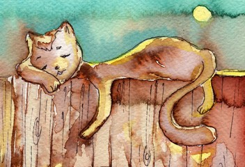 cat, watercolor,