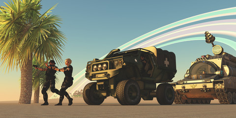 Foto op Canvas Militair Military on Alien Planet