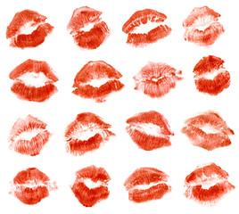 Lipstick kiss. Isolated on white background. Set