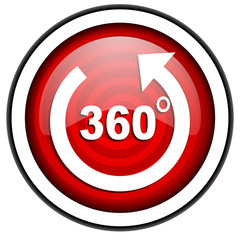 360 degrees panorama red glossy icon isolated on white backgroud