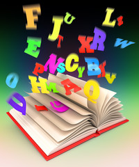 Letters flying out of an open book. Magic book. 3d render