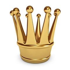Golden Crown. White background. 3d render