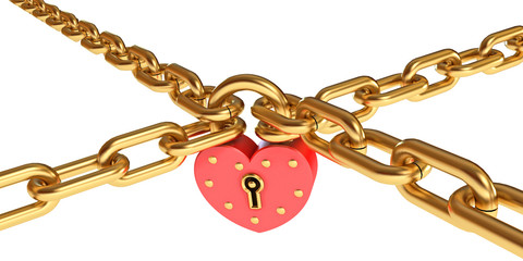 Padlock in a heart-shaped. Gold chain. Conceptual illustration