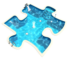 Swimming pool in the form of a puzzle. 3d render