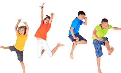 Wall Mural - Happy children jumping