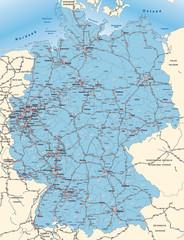 Deutschland mit Postleitzahlen und Verkehrsnetz