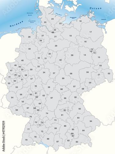 Postleitzahlen Karte Deutschland.Karte Von Deutschland Mit Postleitzahlen Stockfotos Und
