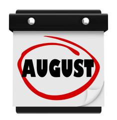 August Word Wall Calendar Change Month Schedule
