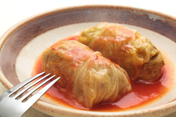 Cabbage roll with tomato sauce