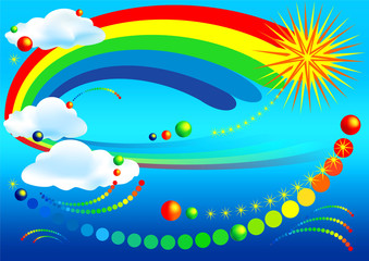 Poster Regenboog abstract illustration (1)