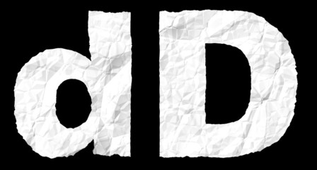 Crumple paper alphabet - D