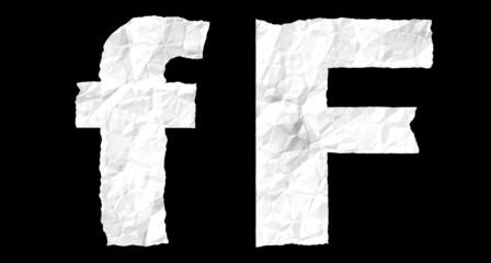 Crumple paper alphabet - F