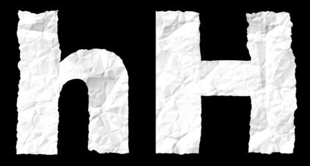 Crumple paper alphabet - H