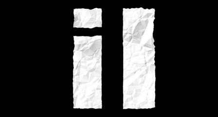 Crumple paper alphabet - I