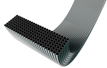 steel pipes in rows