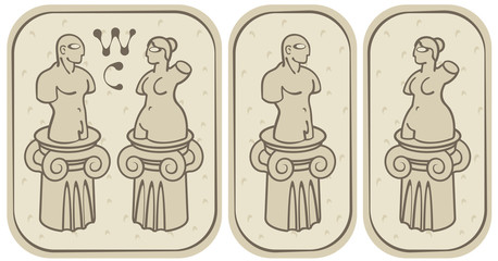 male and female toilets in the ancient style
