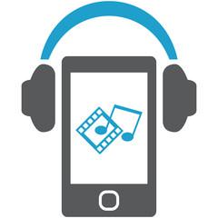 Smartphone with headphones.