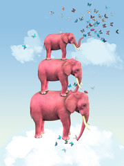 Pink elephants in the clouds with butterflies