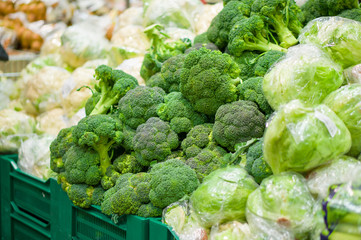 Bunch of broccoli, cabbage and salad on boxes in supermarket