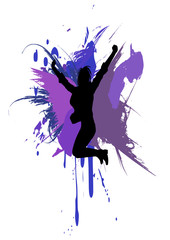 a girl jumping on ink splash background.