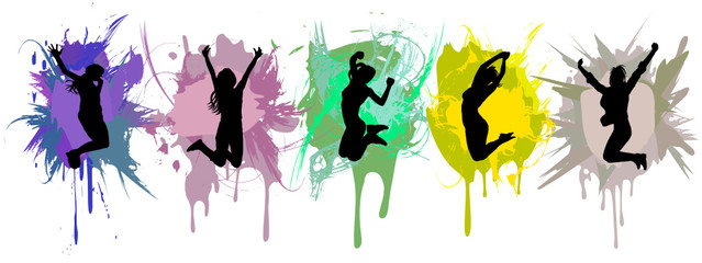 girls jumping on ink splash background.