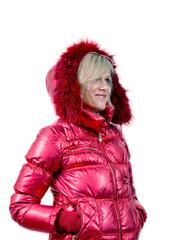 Портрет блондинки в красной куртке