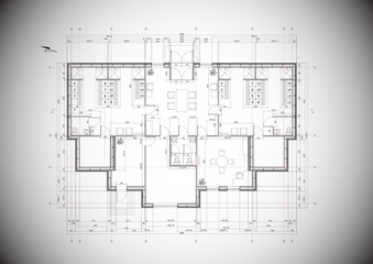Detailed grey vector plan of a typical house construction