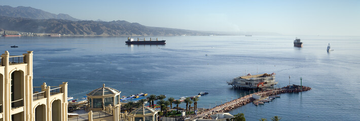 Panoramiv view on the gulf of Aqaba