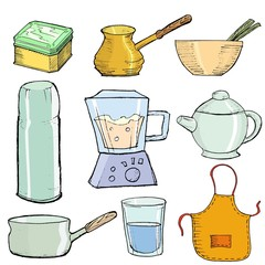 set of hand drawn, vector illustration of kitchen objects