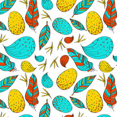 Vector seamless texture with feathers and eggs