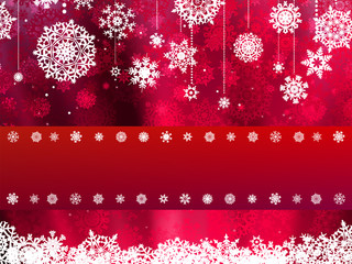 Christmas card with red snowflake. EPS 8
