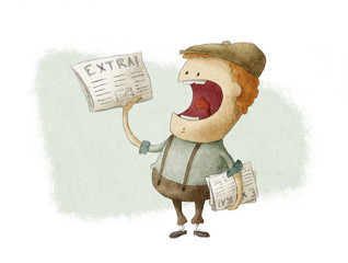 Retro Newsboy Selling Newspapers