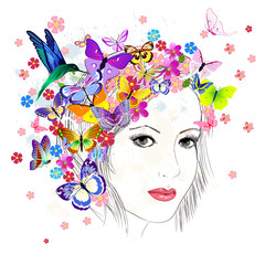 Printed roller blinds Floral woman girl drawing butterfly
