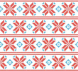 Fotobehang Pixel Pixel holiday pattern. Scandinavian background