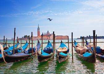Foto op Plexiglas Venetie Italy. Venice. Gondolas in the Canal Grande..