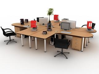 Workplace desks on white background №4