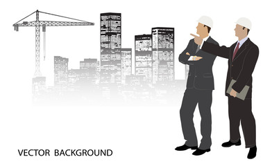 on the image are presented the engineer against construction