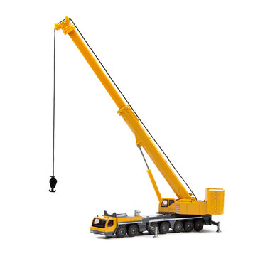 toy truck crane isolated over white backgroung