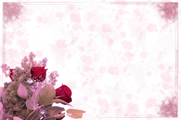 Roses with pink background