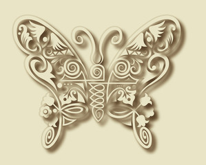 Carving butterfly ornament decoration vector