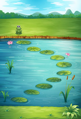 Acrylic Prints Submarine A frog and a lake