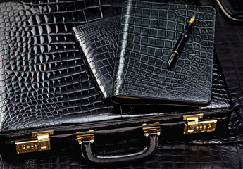 Crocodile leather case with wallet and pencil