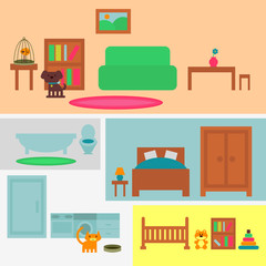 Set of furniture elements four rooms