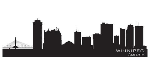 Winnipeg, Canada skyline. Detailed silhouette
