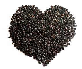 Coffee beans heart shape.