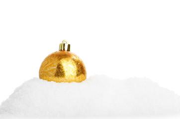 Closeup of a shiny gold hristmas ball