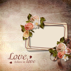 Vintage background with frame and roses
